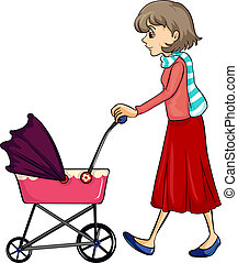 A woman and baby pram