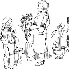 a woman and child chooses flowers