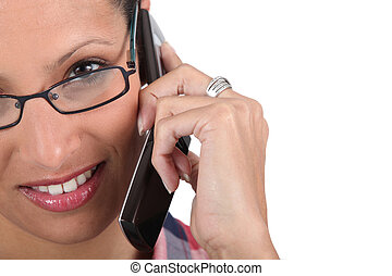 a woman at phone
