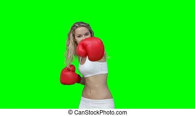 A woman boxing