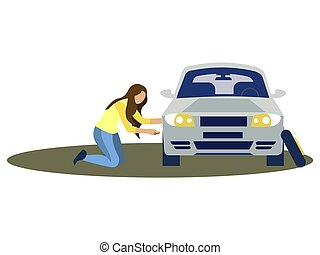A woman changes the wheel of a car. Tire service. In minimalist style. Cartoon flat