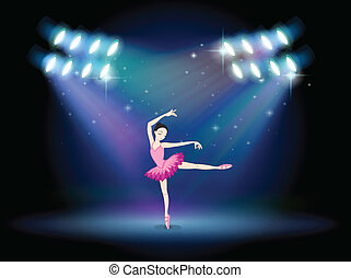 A woman dancing ballet with spotlights