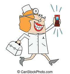 A woman doctor in a hurry to call. Vector illustration.