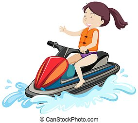 A woman driving jet ski cartoon character isolated on white background