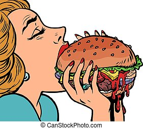 a woman eats a burger, lunch