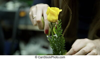 A woman florist collects a bouquet of yellow roses and green leaves.