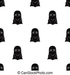 A woman from the Middle East. Human race single icon in black style vector symbol stock illustration web.