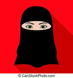 A woman from the Middle East. Human race single icon in flat style vector symbol stock illustration web.