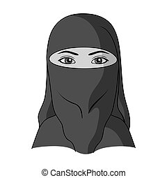 A woman from the Middle East. Human race single icon in monochrome style vector symbol stock illustration web.