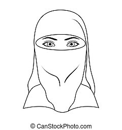 A woman from the Middle East. Human race single icon in outline style vector symbol stock illustration web.