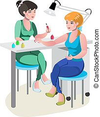 A woman gets manicure a nail master in a beauty salon.