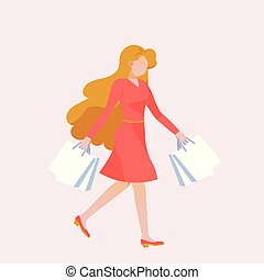 A woman goes shopping.