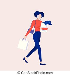 A woman goes shopping
