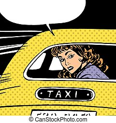 woman goes to taxi looks around separation anxiety love maniac pop art comics retro style Halftone