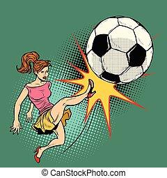 woman hits a soccer ball, football championship