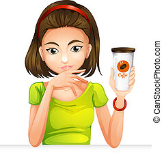 A woman holding a glass of coffee