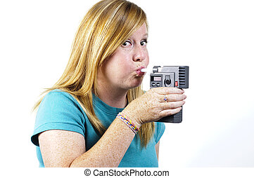 breath test - a woman holding a police breath test as she...