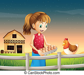 A woman holding an eggtray with eggs near the fence
