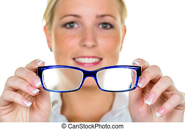 woman holding glasses - a woman holding glasses in hand. ...