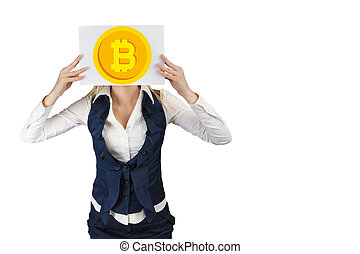 A woman holds a sheet of paper where a bitcoin coin is depicted on the head level