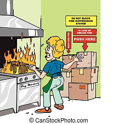 A woman in a commercial kitchen with a grease fire reaching for fire suppression button and it is blocked by boxes