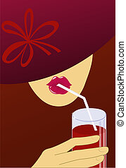 A woman in a dark red hat drinks through a straw red drink