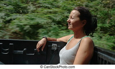 A woman in a pickup truck - Slow motion video of woman...
