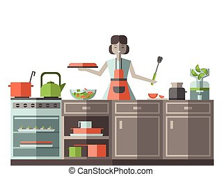 A woman in an apron preparing food in the kitchen. Vector illustration, isolated on white.