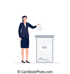 A woman in business suit voting. A political woman is putting a paper ballot to the election box. Democratic election. Vector flat illustration.