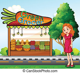 A woman in front of the green grocery stall