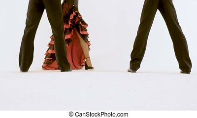 A woman in high heels in an antique dress is coming....