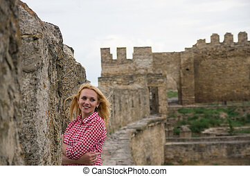 A woman in old fortress