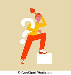 A woman in search of an answer to a question. Flat female character with large question symbol in hand. Vector illustration. Eps 10.