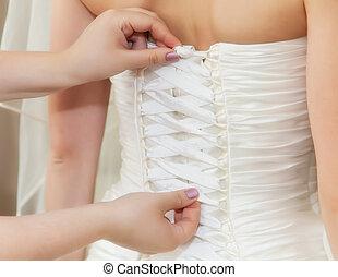 A woman in wedding dress