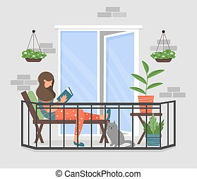 A woman is reading a book on the balcony.