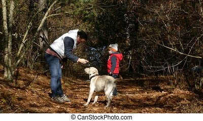 A woman is training a dog in the forest.