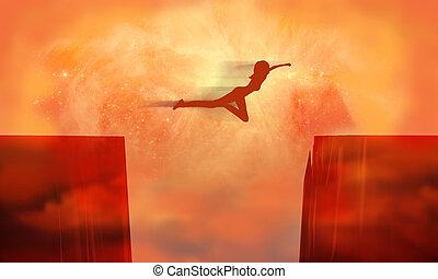 A woman jump between two cliffs.