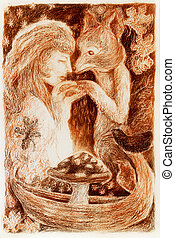 woman mystical alliance with a fox, fantasy colorful detailed ornamental monochromatic painting