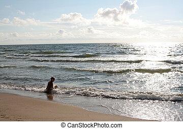 A woman near the sea