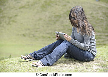 A woman on the grass