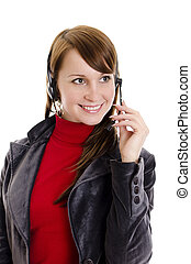 A woman operator support with microphone. Isolated on white.