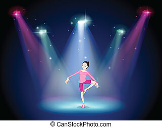 A woman performing ballet on the stage with spotlights