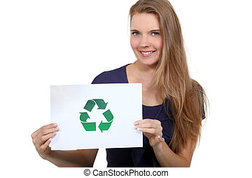 A woman promoting recycling.