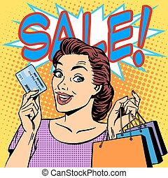 woman purchases discounts credit card sale