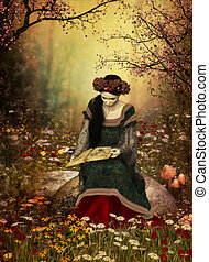A Woman Reading a Book - a lady in a medieval gown sitting...