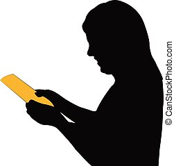 a woman reading book, silhouette vector