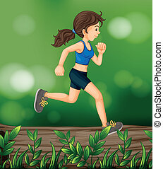 A woman running above a wood with leaves