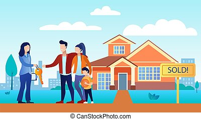 A woman sells or rents a young family home. And gives them the key to the house. Happy family standing in front of house. They come to a new home. The background shows the silhouette of the city.