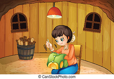 A woman sewing inside a wooden house - Illustration of a ...