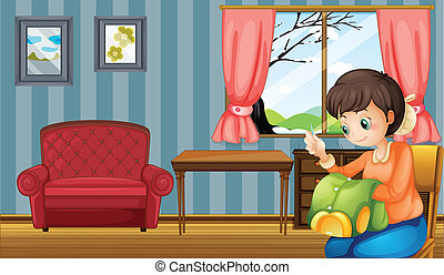 A woman sewing inside their home - Illustration of a woman...